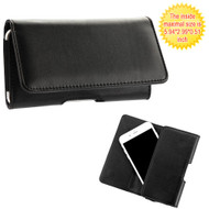 Universal Magnetic Leather Folio Hip Smartphone Case - Black