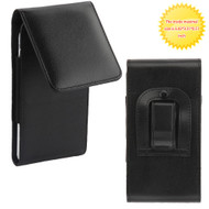 *SALE* Universal Magnetic Vertical Flip Leather Folio Hip Smartphone Case - Black