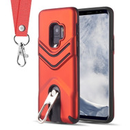 Victory Rugged Hybrid Armor Case with Metal Loop Kickstand and Lanyard for Samsung Galaxy S9 - Red