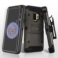 3-IN-1 Kinetic Hybrid Armor Case with Holster and Screen Protector for Samsung Galaxy S9- Grey