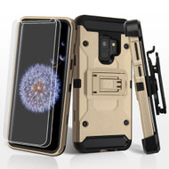 3-IN-1 Kinetic Hybrid Armor Case with Holster and Screen Protector for Samsung Galaxy S9- Gold