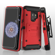 3-IN-1 Kinetic Hybrid Armor Case with Holster and Screen Protector for Samsung Galaxy S9- Red
