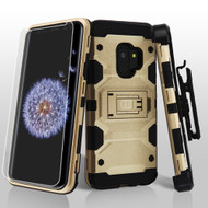 Military Grade Certified Storm Tank Hybrid Case with Holster and Screen Protector for Samsung Galaxy S9 - Gold