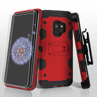 Military Grade Certified Storm Tank Hybrid Case with Holster and Screen Protector for Samsung Galaxy S9 - Red