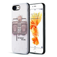 Art Pop Series 3D Embossed Printing Hybrid Case for iPhone 8 / 7 - No Music No Life