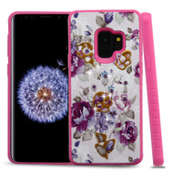 Tough Anti-Shock Hybrid Case for Samsung Galaxy S9 - Violet Flowers