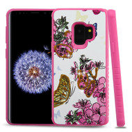 Tough Anti-Shock Hybrid Case for Samsung Galaxy S9 - Butterfly and Flowers