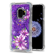 Tuff Lite Quicksand Glitter Transparent Case for Samsung Galaxy S9 - Purple Lilies