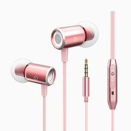 Metal MagBuds Real Bass Noise Isolating In-Ear Headphones with Microphone - Rose Gold
