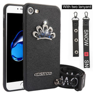 Crystal 3D Jewel TPU Case with Lanyard and Hand Strap for iPhone 8 / 7 - Crown Black
