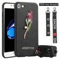 Crystal 3D Jewel TPU Case with Lanyard and Hand Strap for iPhone 8 / 7 - Rose Black