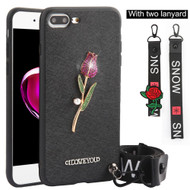 Crystal 3D Jewel TPU Case with Lanyard and Hand Strap for iPhone 8 Plus / 7 Plus - Rose Black