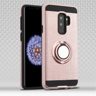 Sports Hybrid Armor Case with Smart Loop Ring Holder for Samsung Galaxy S9 Plus- Rose Gold