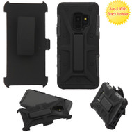 Rugged Hybrid Armor Case and Holster for Samsung Galaxy S9  - Black