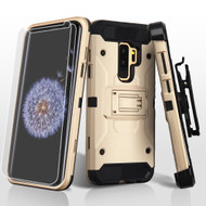 3-IN-1 Kinetic Hybrid Armor Case with Holster and Screen Protector for Samsung Galaxy S9 Plus- Gold