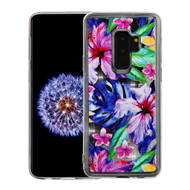 Quicksand Glitter Transparent Case for Samsung Galaxy S9 Plus - Watercolor Hibiscus
