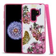 Tough Anti-Shock Hybrid Case for Samsung Galaxy S9 Plus- Butterfly and Flowers