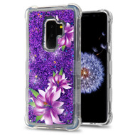 Tuff Lite Quicksand Glitter Transparent Case for Samsung Galaxy S9 Plus - Purple Lilies