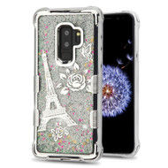 Tuff Lite Quicksand Glitter Electroplating Transparent Case for Samsung Galaxy S9 Plus - Eiffel Tower Silver