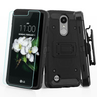 3-IN-1 Kinetic Case + Holster + Tempered Glass for LG Aristo 3 / Aristo 2 Plus / Fortune 2 / Tribute Empire - Black