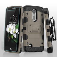 Military Grade Storm Tank Holster Case for LG Aristo 3 / Aristo 2 Plus / Fortune 2 / Tribute Empire - Grey