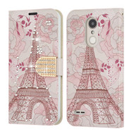 Luxury Bling Leather Wallet Case for LG Aristo 3 / Aristo 2 Plus / Fortune 2 / Tribute Empire - Eiffel Tower