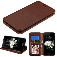 Book-Style Leather Folio Case for LG Aristo 3 / Aristo 2 Plus / Fortune 2 / Tribute Empire - Brown