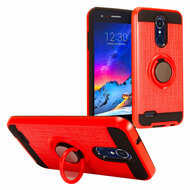 Sports Hybrid Armor Case with Ring Holder for LG Aristo 3 / Aristo 2 Plus / Fortune 2 / Tribute Empire - Red