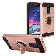 Sports Hybrid Armor Case with Ring Holder for LG Aristo 3 / Aristo 2 Plus / Fortune 2 / Tribute Empire - Rose Gold