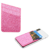 Glittering Adhesive Card Pocket Pouch - Hot Pink