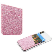 Glittering Adhesive Card Pocket Pouch - Pink