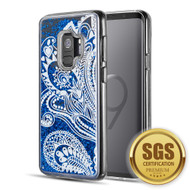 Quicksand Glitter Transparent Case for Samsung Galaxy S9 - Persian Paisley Blue