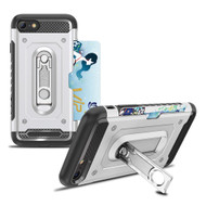 *Sale* The Mechanic Hybrid Armor Case with Card Holder and Metal Loop Kickstand for iPhone 8 / 7 - Silver