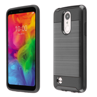 Brushed Coated Hybrid Armor Case for LG Aristo 3 / Aristo 2 Plus / Fortune 2 / Tribute Empire - Black