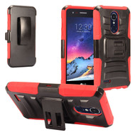 Advanced Armor Hybrid Stand Case + Holster for LG Aristo 3 / Aristo 2 Plus / Fortune 2 / Tribute Empire - Red