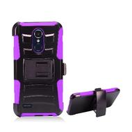Advanced Armor Hybrid Stand Case + Holster for LG Aristo 3 / Aristo 2 Plus / Fortune 2 / Tribute Empire - Purple
