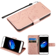 Embossed Butterfly Flower Leather-Style Wallet Stand Case for iPhone 8 / 7 - Rose Gold