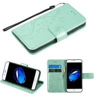 *SALE* Embossed Butterfly Flower Leather-Style Wallet Stand Case for iPhone 8 / 7 - Teal Green