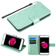 *SALE* Embossed Butterfly Flower Leather-Style Wallet Stand Case for iPhone 8 Plus / 7 Plus - Teal Green