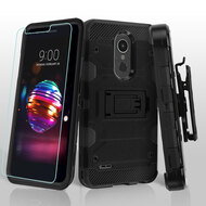 Military Grade Certified Storm Tank Case with Holster and Tempered Glass for LG K30 / Harmony 2 / Premier Pro - Black