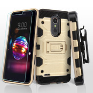 Military Grade Certified Storm Tank Case with Holster and Tempered Glass for LG K30 / Harmony 2 / Premier Pro - Gold