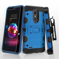 Military Grade Certified Storm Tank Case with Holster and Tempered Glass for LG K30 / Harmony 2 / Premier Pro - Blue
