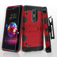 Military Grade Certified Storm Tank Hybrid Case + Holster + Tempered Glass for LG K30 / Harmony 2 / Premier Pro - Red