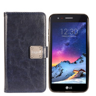 *Sale* Leather Wallet w/ Removable Magnetic Case for LG Aristo 3 / Fortune 2 / Tribute Empire - Navy Blue