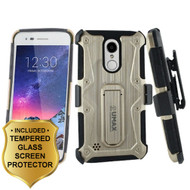 Armor Case + Holster + Tempered Glass for LG Aristo 3 / Aristo 2 Plus / Fortune 2 / Tribute Empire - Gold