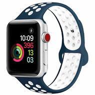 Soft Breathable Sport Band Strap for Apple Watch 40mm / 38mm - Navy Blue White