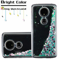 Quicksand Glitter Transparent Case for Motorola Moto E5 Plus - Teal Green