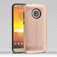 Leather Texture Anti-Shock Hybrid Protection Case for Motorola Moto E5 Play / E5 Cruise - Rose Gold