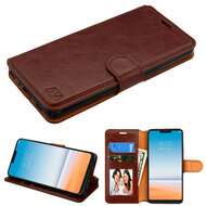 Book-Style Leather Folio Case for LG G7 ThinQ - Brown