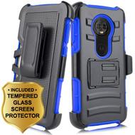 *SALE* Advanced Armor Hybrid Kickstand Case + Holster + Tempered Glass Screen Protector for Motorola Moto E5 Plus - Blue
